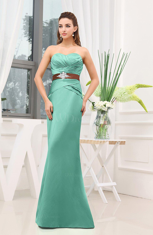 Mint green plain sheath sweetheart zipper floor length for Mint wedding guest dress