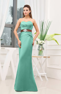 Mint Green Plain Sheath Sweetheart Zipper Floor Length Ruching Wedding Guest Dresses