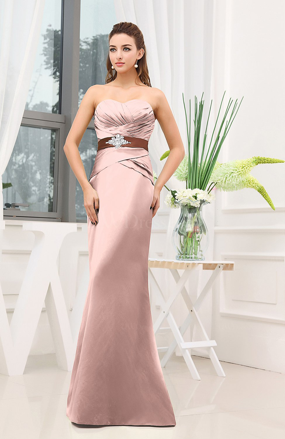 Pastel Pink Plain Sheath Sweetheart Zipper Floor Length Ruching ...