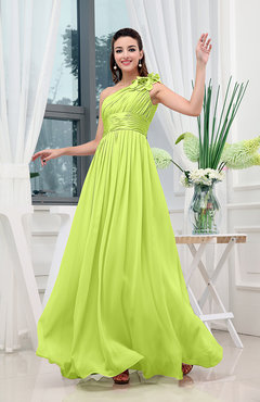 Bright Green Classic A-line One Shoulder Sleeveless Zipper Sash Cocktail Dresses
