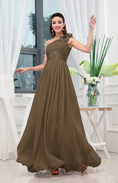 Brown Classic A-line One Shoulder Sleeveless Zipper Sash Cocktail Dresses