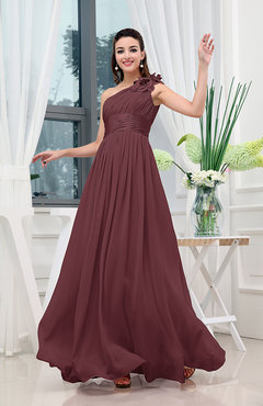 Burgundy Classic A-line One Shoulder Sleeveless Zipper Sash Cocktail Dresses