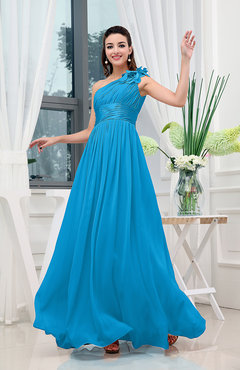 Cornflower Blue Classic A-line One Shoulder Sleeveless Zipper Sash Cocktail Dresses