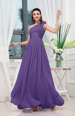 Dark Purple Classic A-line One Shoulder Sleeveless Zipper Sash Cocktail Dresses
