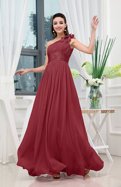 Dark Red Classic A-line One Shoulder Sleeveless Zipper Sash Cocktail Dresses
