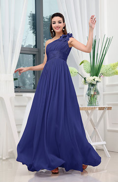 Electric Blue Classic A-line One Shoulder Sleeveless Zipper Sash Cocktail Dresses