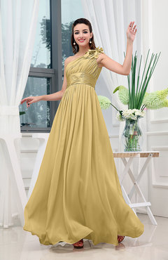Gold Classic A-line One Shoulder Sleeveless Zipper Sash Cocktail Dresses