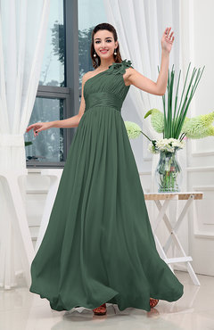 Hunter Green Classic A-line One Shoulder Sleeveless Zipper Sash Cocktail Dresses