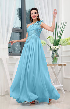 Light Blue Classic A-line One Shoulder Sleeveless Zipper Sash Cocktail Dresses