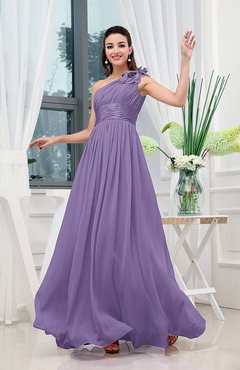 Lilac Classic A-line One Shoulder Sleeveless Zipper Sash Cocktail Dresses
