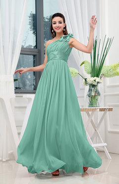 Mint Green Classic A-line One Shoulder Sleeveless Zipper Sash Cocktail Dresses