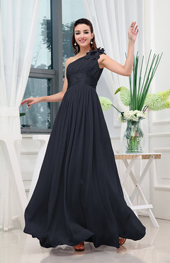 Navy Blue Classic A-line One Shoulder Sleeveless Zipper Sash Cocktail Dresses