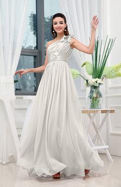 Off White Clic A Line One Shoulder Sleeveless Zipper Sash Tail Dresses