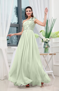 Pale Green Classic A-line One Shoulder Sleeveless Zipper Sash Cocktail Dresses