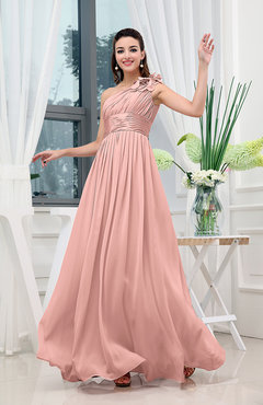 Peach Classic A-line One Shoulder Sleeveless Zipper Sash Cocktail Dresses
