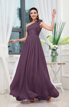 Plum Classic A-line One Shoulder Sleeveless Zipper Sash Cocktail Dresses
