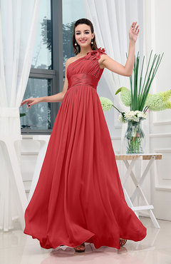 Red Classic A-line One Shoulder Sleeveless Zipper Sash Cocktail Dresses