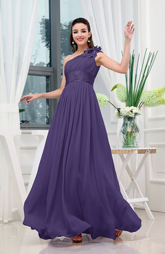 Royal Purple Classic A-line One Shoulder Sleeveless Zipper Sash Cocktail Dresses