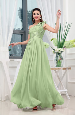 Sage Green Classic A-line One Shoulder Sleeveless Zipper Sash Cocktail Dresses