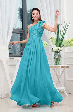 Teal Clic A Line One Shoulder Sleeveless Zipper Sash Tail Dresses