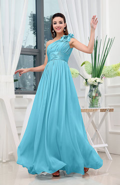 Turquoise Classic A-line One Shoulder Sleeveless Zipper Sash Cocktail Dresses