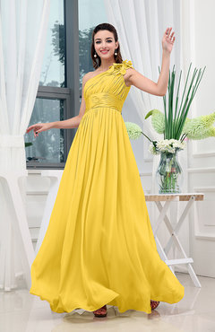 Yellow Classic A-line One Shoulder Sleeveless Zipper Sash Cocktail Dresses