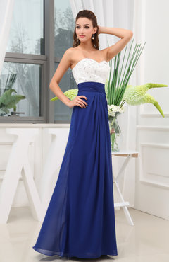 Electric Blue Simple A-line Sleeveless Zipper Chiffon Beaded Wedding Guest Dresses