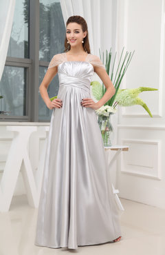 Silver Elegant Empire Short Sleeve Zip up Satin Floor Length Prom Dresses