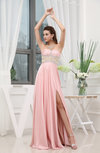 Romantic Sweetheart Zip up Chiffon-Satin Floor Length Split-Front Evening Dresses