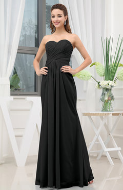 Black Simple Sweetheart Sleeveless Zipper Floor Length Ruching Bridesmaid Dresses