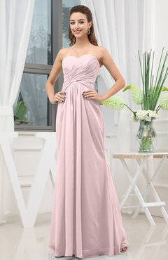 Blush Simple Sweetheart Sleeveless Zipper Floor Length Ruching Bridesmaid Dresses
