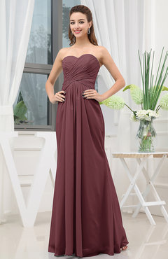 Burgundy Simple Sweetheart Sleeveless Zipper Floor Length Ruching Bridesmaid Dresses
