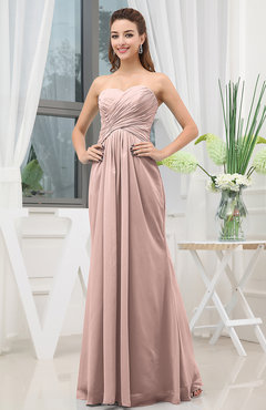 Dusty Rose Simple Sweetheart Sleeveless Zipper Floor Length Ruching Bridesmaid Dresses
