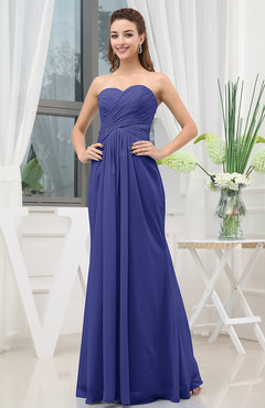 Electric Blue Simple Sweetheart Sleeveless Zipper Floor Length Ruching Bridesmaid Dresses