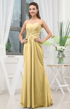 Gold Simple Sweetheart Sleeveless Zipper Floor Length Ruching Bridesmaid Dresses