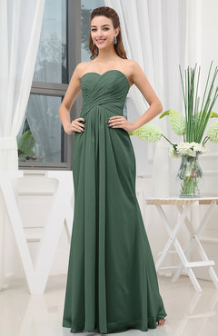 Hunter Green Simple Sweetheart Sleeveless Zipper Floor Length Ruching Bridesmaid Dresses