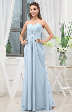 Ice Blue Simple Sweetheart Sleeveless Zipper Floor Length Ruching Bridesmaid Dresses