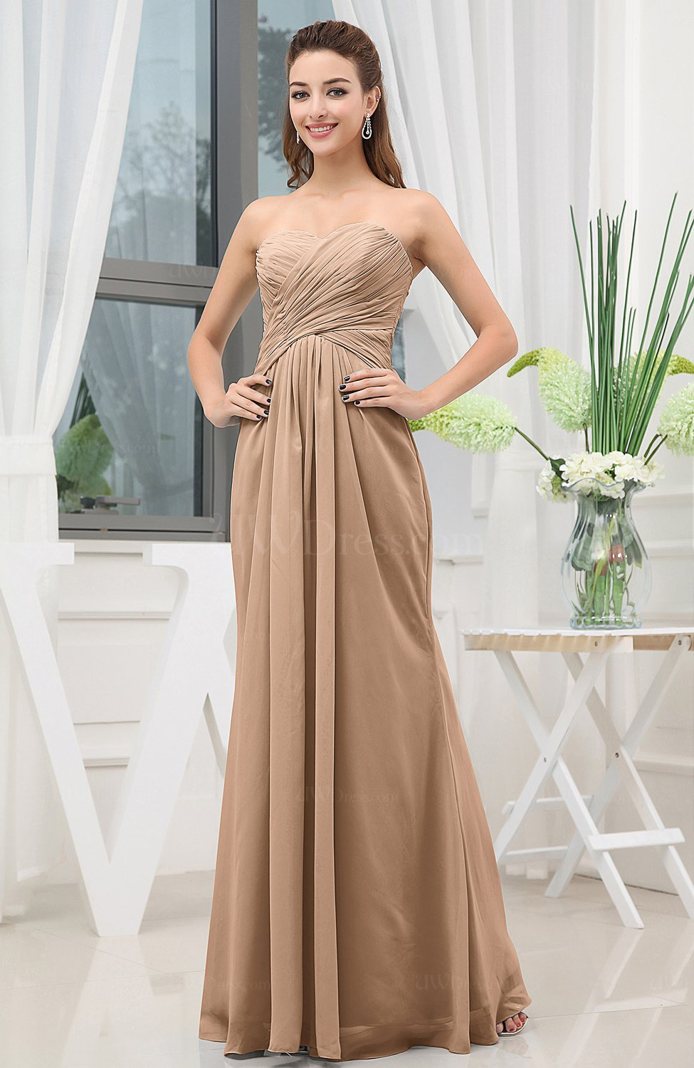 Maroon bridesmaid dresses classic uwdress light brown simple sweetheart sleeveless zipper floor length ruching bridesmaid dresses ombrellifo Images