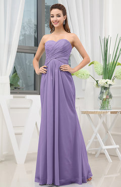 Lilac Simple Sweetheart Sleeveless Zipper Floor Length Ruching Bridesmaid Dresses