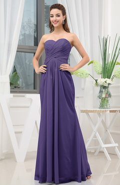 Royal Purple Simple Sweetheart Sleeveless Zipper Floor Length Ruching Bridesmaid Dresses