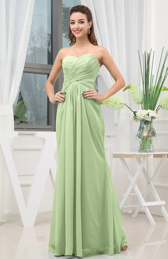 Sage Green Simple Sweetheart Sleeveless Zipper Floor Length Ruching Bridesmaid Dresses