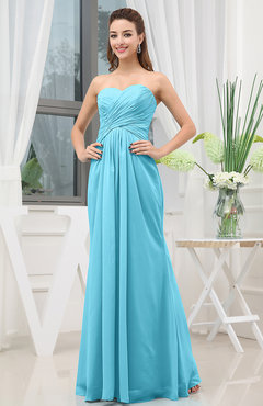 Turquoise Simple Sweetheart Sleeveless Zipper Floor Length Ruching Bridesmaid Dresses