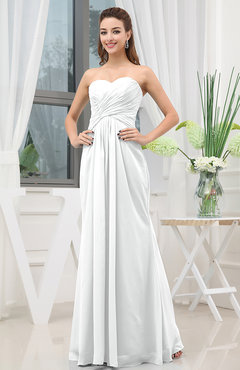 White Simple Sweetheart Sleeveless Zipper Floor Length Ruching Bridesmaid Dresses