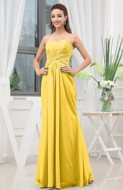 Yellow Simple Sweetheart Sleeveless Zipper Floor Length Ruching Bridesmaid Dresses