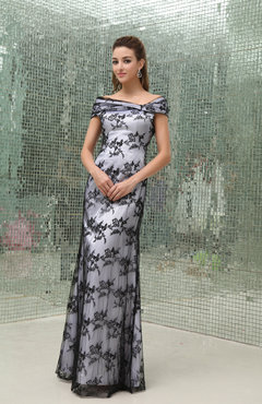 Elegant Column Short Sleeve Floor Length Lace Prom Dresses