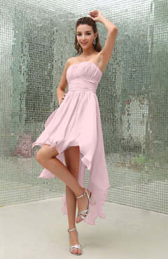 Blush Plain Sleeveless Zipper Chiffon Ankle Length Ruching Wedding Guest Dresses