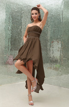 Brown Plain Sleeveless Zipper Chiffon Ankle Length Ruching Wedding Guest Dresses