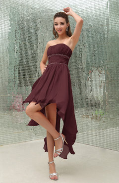 Burgundy Plain Sleeveless Zipper Chiffon Ankle Length Ruching Wedding Guest Dresses