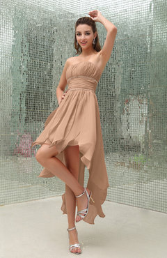 Burnt Orange Plain Sleeveless Zipper Chiffon Ankle Length Ruching Wedding Guest Dresses