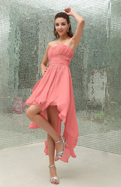 Coral Plain Sleeveless Zipper Chiffon Ankle Length Ruching Wedding Guest Dresses